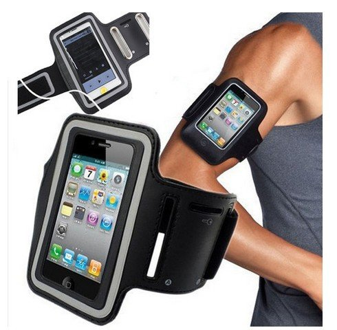 Apple iPhone 5,5s,5c,iPOD 5 Armband + Key Holder, With Reflective Security Strip, Water Resistant, Clear Touch Screen, Earphone Compatible, Adjustable Velcro for Secure Comfortable Tight Fit for Men/Women – Also Fits Galaxy S4