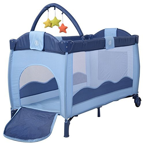 --Pack N Play Playard Baby Crib Playpen Pack Travel Cuddle Infant Bassinet Bed Foldable Blue--