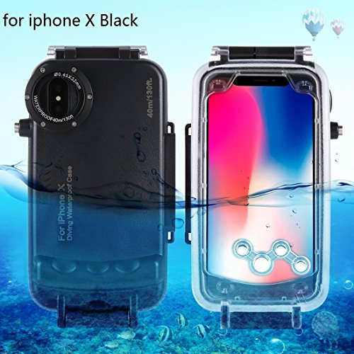 HAWEEL iPhone X Underwater Housing Professional [40m/130ft] Diving Case for Diving Surfing Swimming Snorkeling Photo Video with Lanyard (iphone X, Black)