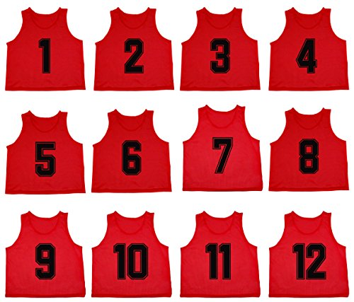 Oso Athletics Set of 12 Premium Mesh Numbered Scrimmage Vest Pinnies Team Practice Jerseys for Children, Youth, and Adult Sports Basketball, Soccer, Football, Volleyball, Lacrosse (Red (#1-12), Child)