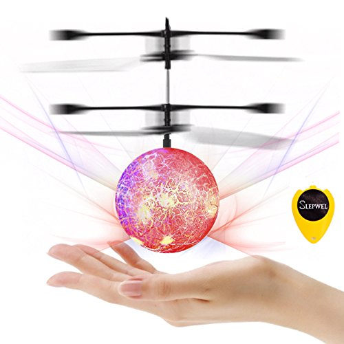 Flying Ball Toys-Slepwel Mini Infrared Induction RC Helicopter Ball with Shinning LED Lights Built-in, Remote Control Toys for Boys and Girls, Teenagers Colorful Magic for Kids Toys