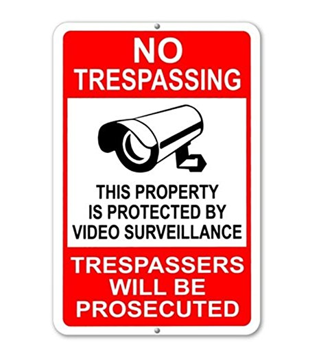 "1-Pc Great Popular No Trespassing This Property Is Protected By Video Surveillance Trespassers Will Be Prosecuted Yard Signs Lawn Warning Message Being Watched Size 7"" x 11"""