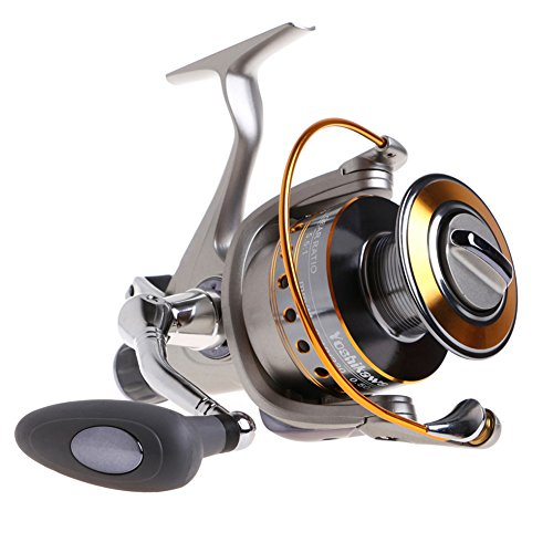 Yoshikawa Baitfeeder Spinning Reel Saltwater Freshwater Fishing 5.5:1 11 High Power Stainless Ball Bearings 28Lb Drag Right Left Hand Reversible Front Rear Drag Live Liner 3000-6000