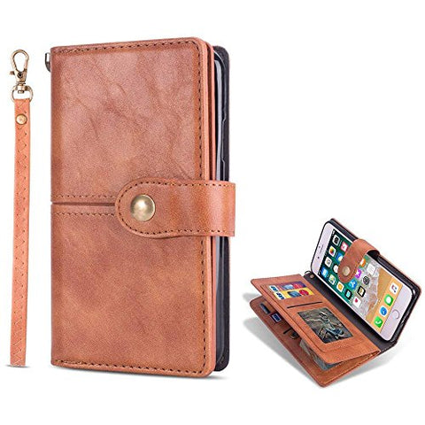 for iPhone 6 Plus Case iPhone 6S Plus Wallet Case LAPOPNUT Vintage Wallet PU Leather Flip Case Dual Folio Card Holder Housing with Wrist Hand Strap Magnetic Lock Kickstand Case Book Cover, Brown