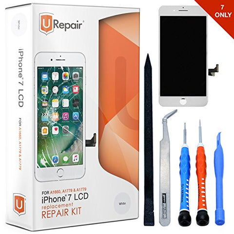 iPhone 7 Screen Replacement - White - Gold - LCD Display Assembly with Repair Tool Kits - Full Set with Easy Workflow - Touch Panel incl. - All Networks - with Glass Screen Protector