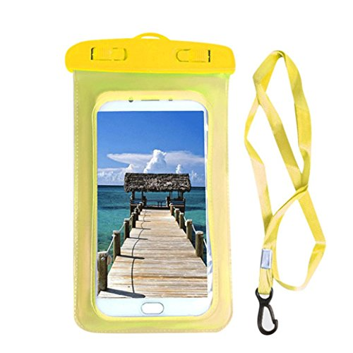 Waterproof Phone Pouch Holder Underwater Phone Case Cellphone Dry Bag for  iPhone X/8/8P/7/7P (Yellow)