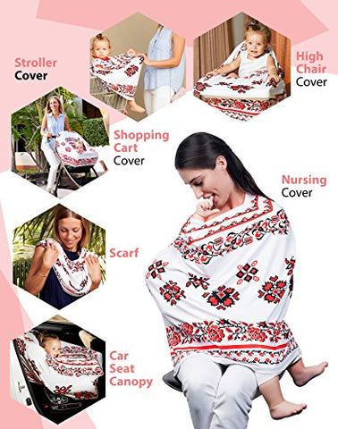 Premium Nursing Breastfeeding Cover | Stretchy and Breathable Carseat Canopy | Set of 2 Nursing Pads and 1 Pouch | Easy Covers Baby Car Seat or Stroller | Best Floral Infinity Scarf for Girls and Boys