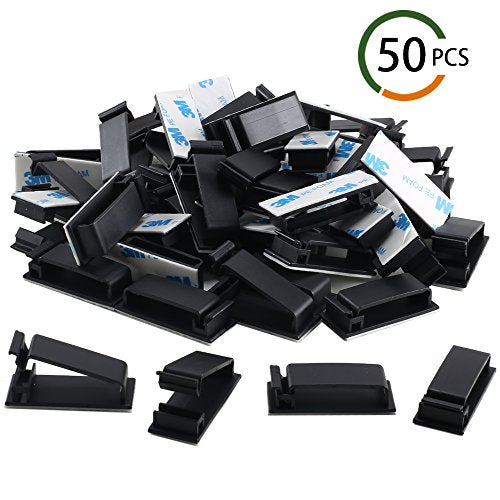 FJSM 50 Pieces Adhesive Ethernet Computer Cable Clips Charging Usb Cable Organizer Wire Holder Cable Management Clips for Home Car Office Desk Cell Phone Charger Earphone Lines (Black)