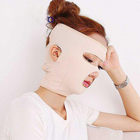 Potato001 Full Face Lift Masks Health Care Slimming Facial Double Chin Beauty Bandage Belt size M (Beige)