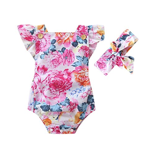 Infant Toddler Baby Girls Romper Jumpsuit Set Cuekondy Floral Bodysuit Playsuit+Headband Summer Outfit Clothes for 6-24 Months (Multicolor, 6M)