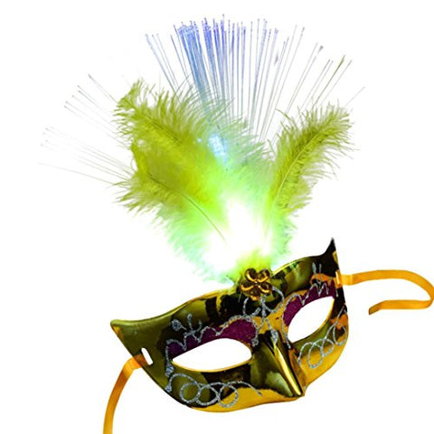 Mchoice HOT Women Venetian LED Fiber Mask Masquerade Fancy Dress Party Princess Feather Masks (Yellow)