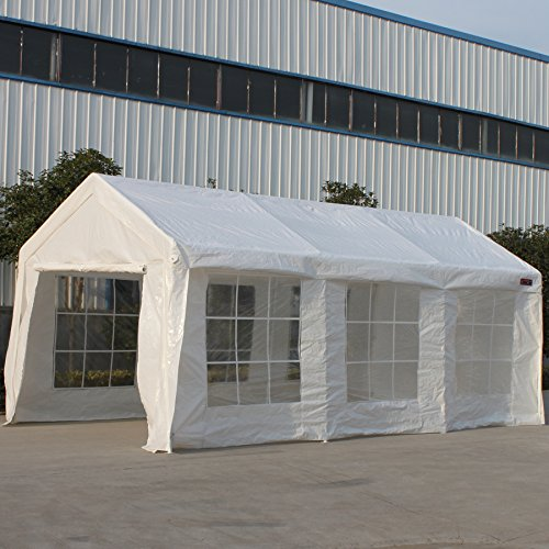SNAIL 10 x 20 Ft Outdoor Enclosed Domain Carports Waterproof Portable Car Storage Shelter Party Tent Canopy with Heavy Duty 8 Steel Legs & Enclosure Walls, White