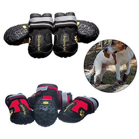 ZX101 4Pcs Waterproof Pet Footwear Dog Shoes Anti-Slip Comfortable Reflective Boots size 8 (Blue)