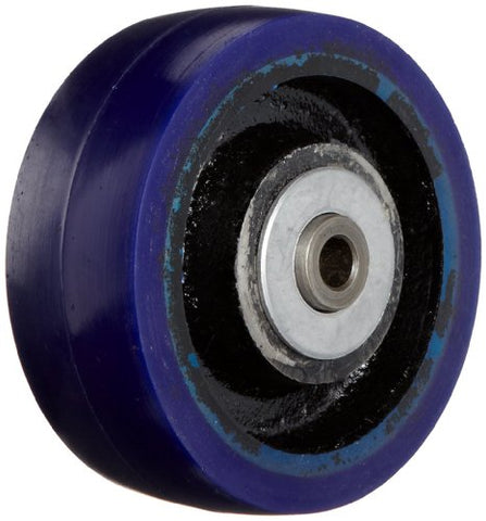 "RWM Casters UIR-0415-06 4"" Diameter X 1-1/2"" Width Urethane on Iron Wheel with Straight Roller Bearing, 600 lbs Capacity"