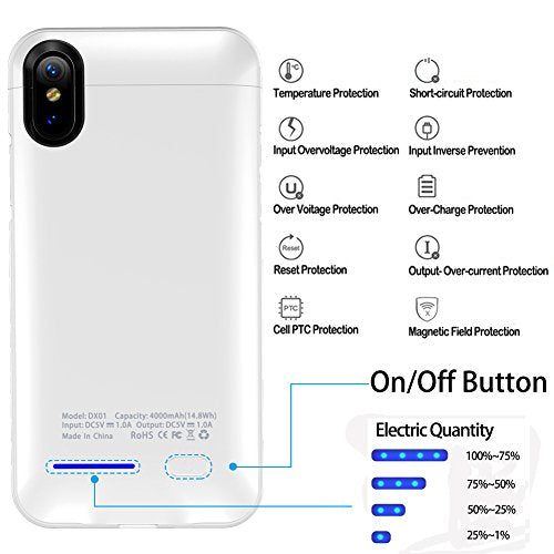 iPhone X Battery Case, Cofuture 4000mAh Power Bank Magnetic Rechargeable  Extended Battery Charger Protective Case, Sync Through, with Car Mount and