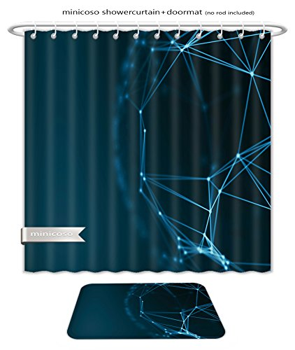 Minicoso Bath Two Piece Suit Shower Curtains And Rugs Futuristic Virtual Technology Background Fiber