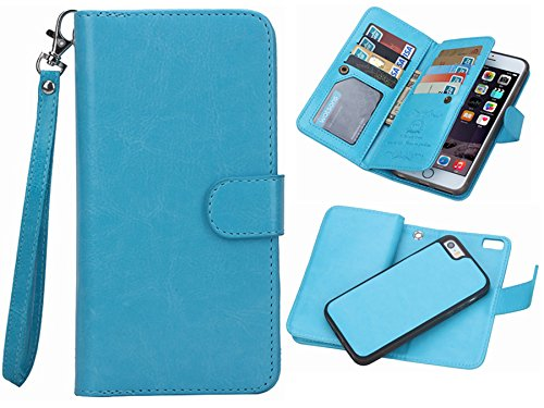 "iPhone 6 plus/6S plus 2 in 1 Wallet Case,Hynice Folio Flip PU Leather Case Magnetic Detachable Slim Back Cover Card Holder Slot Wrist Strap wallet for iPhone 6 plus/6S plus 5.5 ""(blue)"