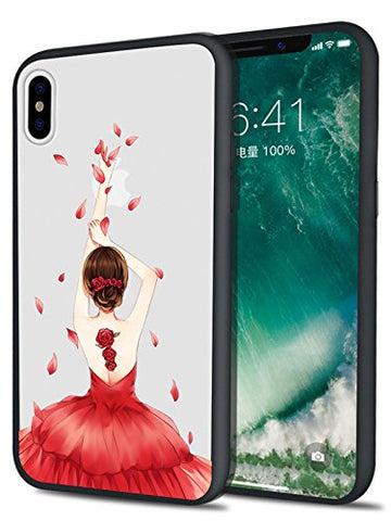 MAYCARI iPhone X Case Cover with Dancer Girl with Red Dress Printing Anti-fingerprint Anti-Slip Design, Matte PC Back & TPU Edge Shockproof Protective Shell for Apple i Phone x 5.8 Inch for Women
