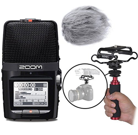 Zoom H2n Handy Portable Digital Audio Recorder Kit with Deadcat Windscreen, Shockmount, Camera Mount and Mic Grip