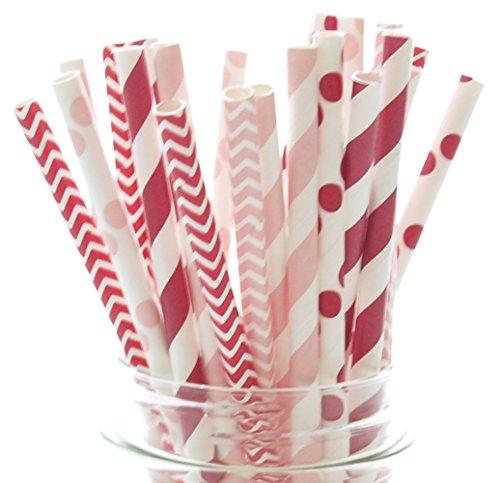 Valentines Straws, Red & Pink Wedding Straws (25 Pack) - Kids Valentine's Party Decorations, Valentines Day Supplies, Valentine's Favor Gifts