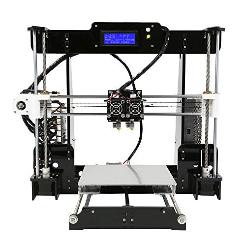 Anet A8M 3D Printer, Dual Nozzel Color Desktop SD Card DIY 3D Printer High Speed Precision with 2004 LCD Works with 10M PLA ABS Filaments- Aluminum Hotbed Acrylic Frame