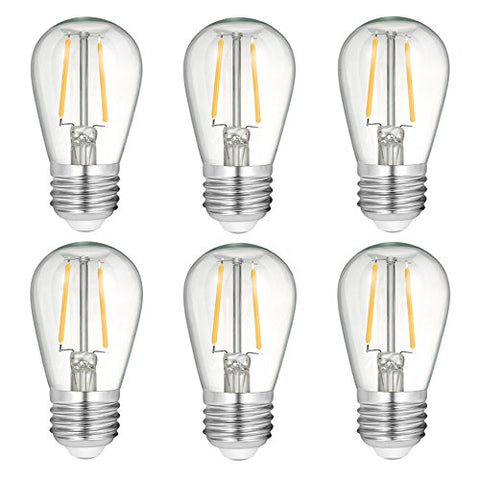 STAR JOINING Dimmable Vintage Led Spare Bulbs,2W Retro Edison Light Bulbs Clear Glass S14 E26 Screw-Warm White,Used for Outdoor&Indoor String Lights Replacement(6-pack)