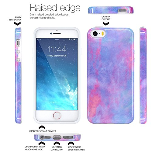 iPhone 5 Case, iPhone 5S Case, JAHOLAN Abstract Cloud Marble Design Slim  Shockproof Clear Bumper TPU Soft Case Rubber Silicone Skin Cover for Apple
