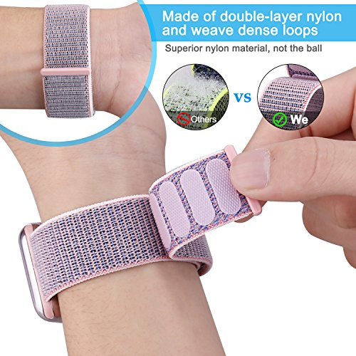 wholesale dealer d390c 8be56 For Apple Watch Band 42MM Nylon Soft Breathable Nylon I Watch Replacement  Band Sport Loop for Apple Watch Series 3/2/1 (Pink Sand Sport Loop, For ...