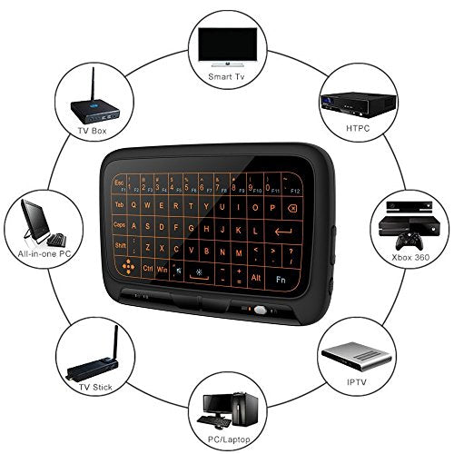 2 4GHz Backlit Mini Wireless Keyboard with Full Screen Touchpad Mouse Combo  for PC,Smart TV,Google Android TV Box,HTPC,IPTV,Raspberry pi 3,Pad and