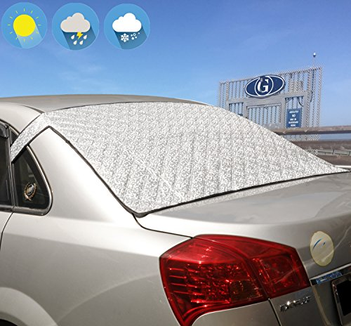 Windshield Snow Cover Jackey awesome Car Windshield Snow & Sun Shade Protector Exterior Shield Guard Fits Most Weather Winter Summer Auto SunShade Cover (Silver, For Vehicle Rear Windshield)