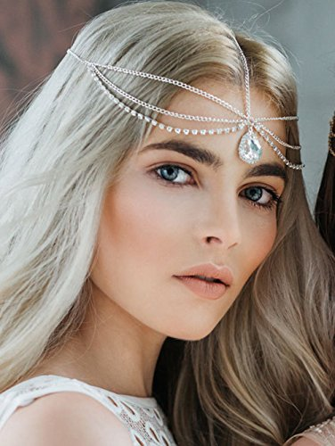 FXmimor Head Chain Bohemian Crystal Halloween Headpiece Wedding Hair Jewelry Accessories for Women Girl Bridal