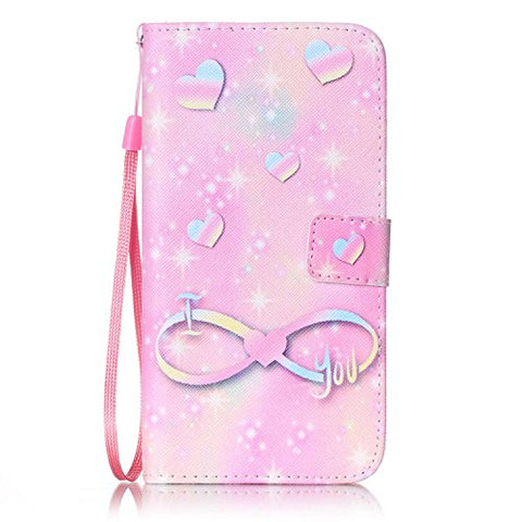 "iPhone 8 Plus - Case, iPhone 7 Plus - Case [Wrist Strap], MerKuyom [Kickstand] Premium PU Leather Wallet Pouch Flip Cover Case For iPhone 7 Plus / iPhone 8 Plus 5.5"", +Stylus (Pink I Love You Heart)"
