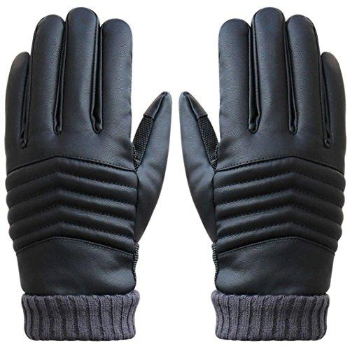 Men Winter Warm Gloves,Putars Fashion Anti Slip Men Thermal Winter Cold Weather Sports Leather Touch Screen Gloves