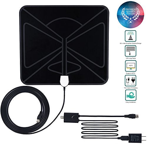 ATBAY HD TV Antenna 50+ Mile Range High Reception Performance Indoor TV Receiver with 10FT Coax Cable and Detachable Amplifier Signal Booster for More Free Channel,Black