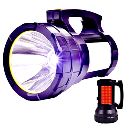 Odear Handheld Spotlight Super Bright Portable Rechargeable LED Searchlight Lantern Flashlight Waterproof Spot lamp for Hunting Hiking Camping (Black)
