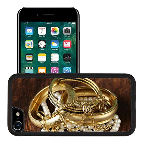 Liili Apple iPhone 7 iPhone 8 Aluminum Backplate Bumper Snap iphone7/8 Case gold and pearl jewelry on vintage wooden background 27941360