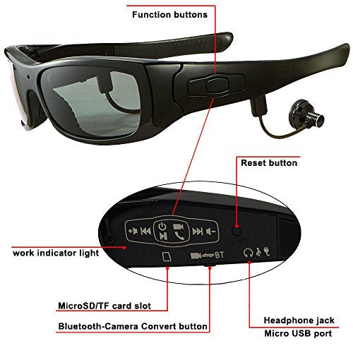 bb300b38be JOYCAM Bluetooth Sunglasses with 720P Camera Video Recording Polarized  UV400 Glasses with Detachable Speakers