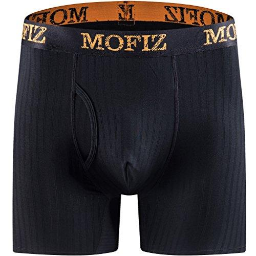 MoFiz 3-Pack Athletic Compression Long Leg Boxer Briefs Performance Bamboo Underwears for Mens Medium
