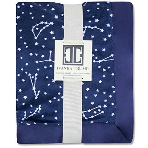 Ivanka Trump Stargazer Collection: Super Soft Plush Baby Blanket - Blue Stars Galaxy