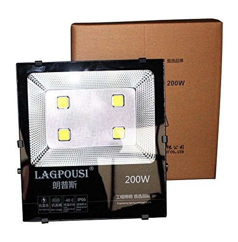lagpousi 200W Super Bright Outdoor LED Spotlight Lights,1000W Halogen Bulb Equivalent,Waterproof IP66 20000lm,OSRAM LED Chip, Angle of 120 degrees,4000K Daylight,Garden lights,Flood light ,floodlight