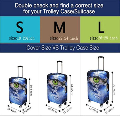Dbtxwd 3D Suitcase Protective Cover Colorful animals Polyester Printing Wear-resisting High Elastic force Scratch-resistant Travel Luggage Cover 18-28 inch , 3 , s