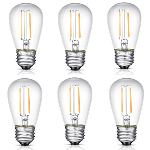 YINUO Candle 1.5w S14 LED Light Bulbs E26 Medium Screw Base Warm White Energy Saving LED Filament Light Bulbs for Outdoor Patio String Light (6 Pack)
