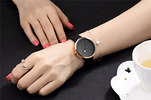 Watch Womens Ladies Fashion Luxury Dress Analog Watches Black Band Minimalist Quartz Ultra Thin Watch