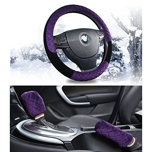 ZZXSWC 15inch Short Plush Fuzzy Steering Wheel Cover Plush Handbrake Cover Gear Shift Cover 1 Set 3 Pcs (Purple)
