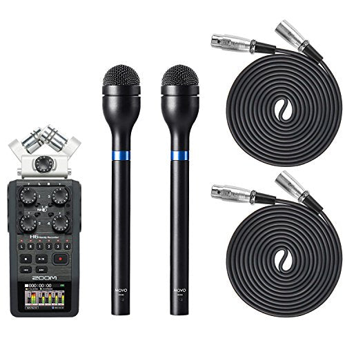 Movo Pro Recording Bundle with Zoom H6 Six-Track Portable Recorder, Dynamic  Omnidirectional Handheld XLR Reporter Microphone (x2), and Balanced