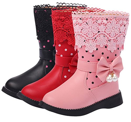 9e2432220e10 DADAWEN Girl s Waterproof Lace Bowknot Side Zipper Fur Winter Boots (Toddler  Little Kid