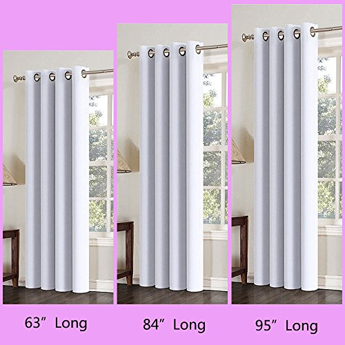 63 Inch Long White Grey Windows Curtains 1 Panel Drapes Thermal