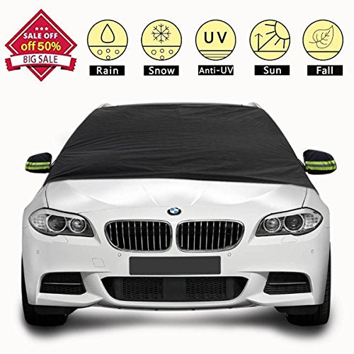 "Windshield Cover for Ice and Snow - Car Windshield Snow Cover - Frost Snow Ice Waterproof Windproof Dustproof Outdoor protector Car Covers Fits Most Car, SUV, Truck, Van (83.46""x48"")"