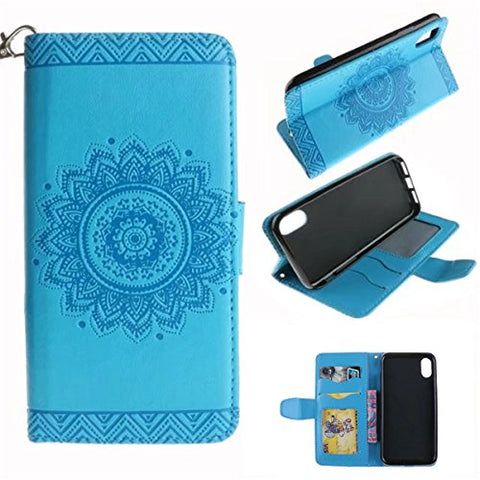 "iPhone X Case,Gift_Source [Emboss Mandala] [Stand Holder] Premium PU Leather Pouch Wallet Flip Magnetic Housing Cover Detachable Wrist Strap Case for Apple iPhone X (2017) 5.8"" [Blue]"