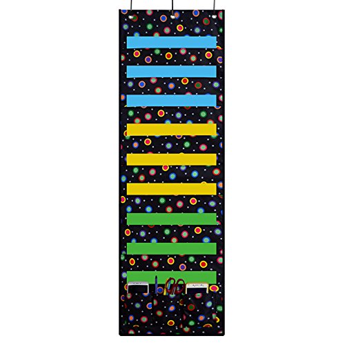 ZKOO Storage Pocket Chart,Hanging wall file organizer with 9 large pocket and 3 small pocket ,Perfect for Organizing Your Classroom, School, Office and Home(43X14 inch) (Rainbow dot)